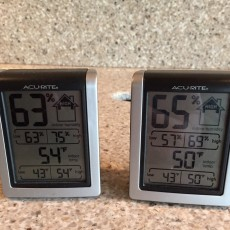 "Humidity monitors showing ""before"" numbers."