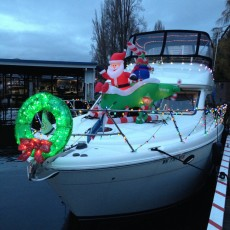 The prize-winning Santa-copter on the bow!